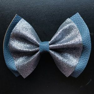 Deep blue with blu silver faux leather bow